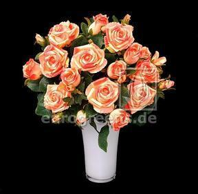 Mazzo artificiale Rosa rosa-albicocca 50 cm