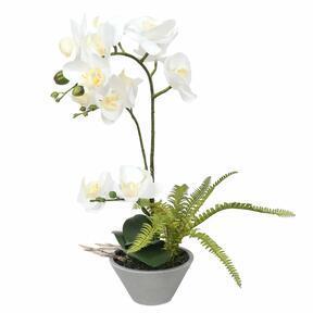 Orchidea artificiale bianca con felce 43 cm