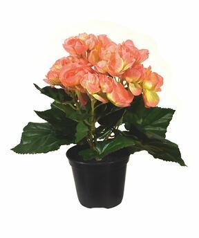 Pianta artificiale Begonia arancione 20 cm