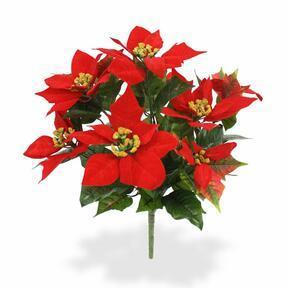 Pianta artificiale Rosa di Natale rossa 40 cm