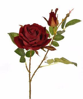 Ramo artificiale Rosa bordeaux 60 cm